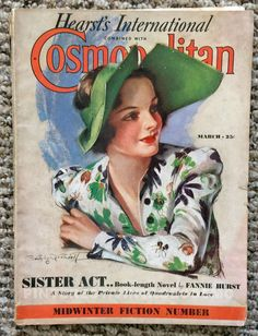 "Cosmopolitan magazine, MARCH 1937 Model: Olivia de Havilland, actress (Gone with the Wind, 1939) Artist: ""Tropical Interlude"" by Bradshaw Crandell  Olivia de Havilland is one of the last surviving actors from the film ""Gone with the Wind"""