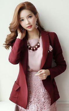 StyleOnme_Side Flap Pocket Tailored Jacket #autumn #look #feminine #formal…