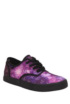 4dfa4ed2c7bb Canvas shoes from Cute To The Core with white outsole and allover galaxy  skull print.