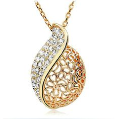 Cheap jewelry boxes little girls, Buy Quality jewelry song directly from China jewelry daughter Suppliers: Fashion Women Lover Hollow Leaf Gold Color Rhinestone Necklace Jewelry Leaf Pendant, Pendant Earrings, Diamond Pendant, Swarovski Crystal Necklace, Swarovski Jewelry, Rhinestone Necklace, Jewelery, Jewelry Necklaces, Heart Necklaces