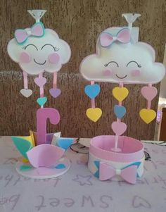 Girl Birthday Decorations, Baby Shower Decorations, Cloud Party, Flower Drawing Images, Baby Shawer, Baby Shower Cookies, Foam Crafts, Baby Party, Unicorn Party