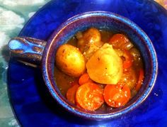 Frosty days need Hearty Stews.  Ingredients:  Meat (or not), carrots, onions, potatoes, tomatoes, pepper, salt, liquid smoke, other warming spices like cayenne.  Dumplings on top optional.  If you make dumplings add parsley.