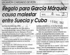 Regalo de García Márquez causa malestar entre Suecia y Cuba. Publicado el 15 de diciembre de 1982