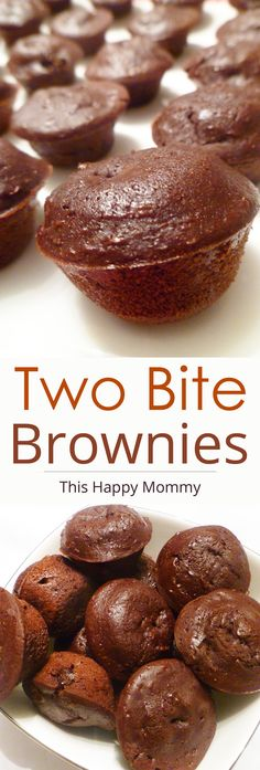 Double chocolate mini brownies filled with ooey gooey chocolate chips. | thishappymommy.com