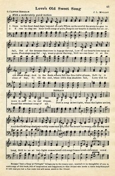vintage love song, free vintage sheet music, digital music page, loves old sweet song, old music graphic