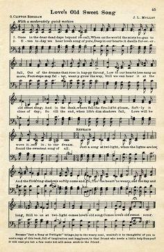 vintage love song, free vintage sheet music, digital music page, love's old sweet song, old music graphic