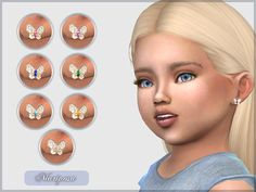 Animal Earrings The Sims 4 _ - Clove share Asia Butterfly Earrings Toddler Cc Sims 4, Sims 4 Toddler Clothes, Sims 4 Cc Kids Clothing, Sims 4 Teen, Sims 4 Mods Clothes, Sims Four, Sims Cc, Mods Sims, Sims 4 Body Mods