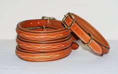 Half raised fancy stitched leather dog collar made by PearTannery