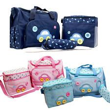 4pcs Car Cute as a Button Embroidery Baby Nappy Changing Bag