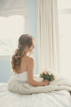 her hair, her bouquet, her dress...I love it all!