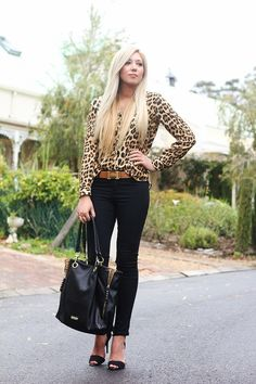 Black with leopard print.