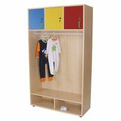Garderobenschrank Kidz Pro mit farbigen Türen. Abschließbares Ablagefach und Kleiderstange mit viel Platz für Stauraum machen diese Garderobe einzigartig.