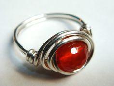 Red Carnelian Gemstone Ring