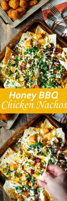 Honey BBQ Chicken Nachos recipe. A simple appetizer to make tonight.