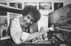 "The new stardom of Bob Ross! Happy little trees forever: Twenty years after his death, the soothing host of ""The Joy of Painting"" is thriving on streaming video and social media. Bob Ross Paintings, Happy Paintings, Seascape Paintings, Peintures Bob Ross, Bob Ross Quotes, Books On Tape, Happy Little Trees, The Joy Of Painting, Star Wars"