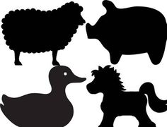 Farm animal silhouettes for barnyard birthday party cutouts. Cut outs of sheep, duck, horse, pig. Sized to print on letter size paper each.