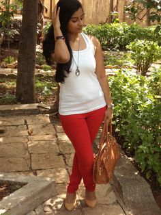 Red Pants #highstreet #style #fashion #blog #india #stylist #mumbai #OOTD #WhatIWore #blogger #reddenim #tanktop #summer