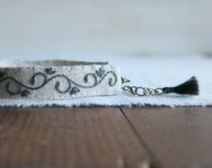 Fabric Cuff Bracelet Gray Blue Vine with White by Sidereal