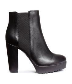 Platform ankle boots in imitation leather. Elastic side panels, satin lining, covered heels, and rubber soles. Black. | H&M Shoes