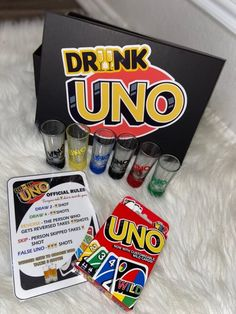 Now, it may have been a number of years since you sat down to a game of Uno, but playing the game as an adult is no less entertaining! Particularly as, courtesy of Etsy's Spriinkle Me Piink, you can now buy a boozy version of the classic card game. Uno Drinking Game, Drinking Games For Parties, Alcohol Games, Alcohol Drink Recipes, Teen Party Games, Sleepover Party, Party Card Games, Drunk Games, Classic Card Games