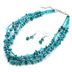 """5 Multi Strand Turquoise Chips with Blue and Green Glass Beads 17"""" Adjustable Necklace & Earrings Set http://shorl.com/juvoriprejygu"""