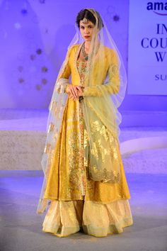 Anju Modi (REALLY BEAUTIFUL!) Just make a simpler long shirt using all these designs colours and stuff) Pakistani Outfits, Indian Outfits, India Fashion, Asian Fashion, Bridal Mehndi Dresses, Sangeet Outfit, Lehenga Jewellery, Designer Bridal Lehenga, Lehenga Saree