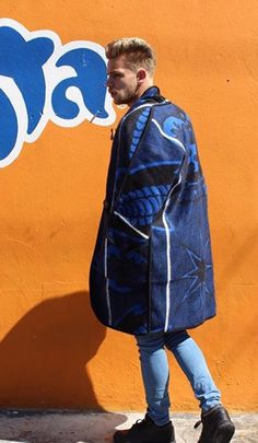 Coat made from a Royal blue Cultural blanket from Lesotho.