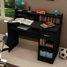 kids bedroom | South Shore Small Desk - Great Writing Desk for Your Child - The Computer Desk Is Great for Your Kid's Bedroom or Any Small Area - Place a Laptop in This Study Table - 5 Years Warranty! (Black)