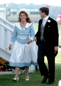 TRH Sarah Ferguson, Duchess of York and Prince Andrew at Guards Polo Club, Windsor, England June 1986