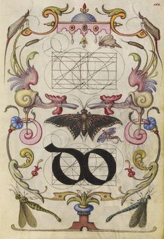 Guide for Constructing the Ligature do; Joris Hoefnagel (Flemish / Hungarian, 1542 - 1600); Vienna, Austria; about 1591 - 1596; Watercolors, gold and silver paint, and ink on parchment; Leaf: 16.6 x 12.4 cm (6 9/16 x 4 7/8 in.); Ms. 20, fol. 150