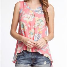 High low sleeveless flora print top High low sleeveless flora print top Tops Blouses