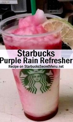 Starbucks Purple Rain Refresher! #StarbucksSecretMenu Like an icy Raspberry Lemonade, yum! Recipe here: http://starbuckssecretmenu.net/purple-rain-refresher-starbucks-secret-menu/: