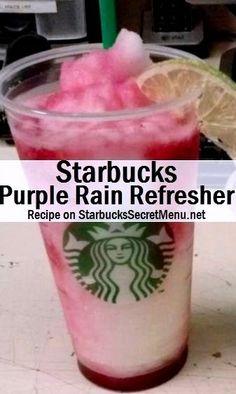Starbucks Purple Rain Refresher! #StarbucksSecretMenu Like an icy Raspberry Lemonade, yum! Recipe here: http://starbuckssecretmenu.net/purple-rain-refresher-starbucks-secret-menu/:
