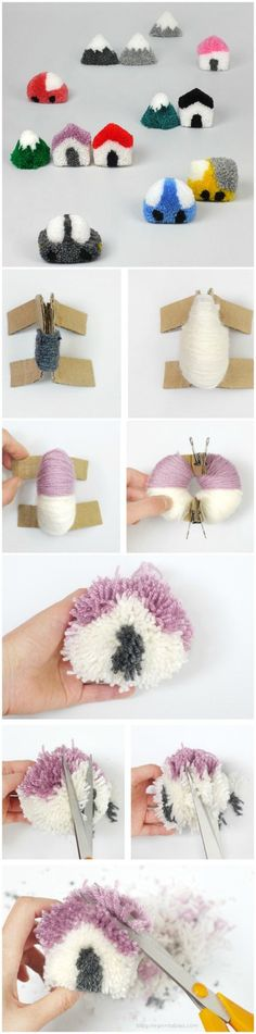 Cutest craft idea for the kids this summer! make this DIY Pom Pom Town Play Set Cute Crafts, Diy And Crafts, Crafts For Kids, Arts And Crafts, Pom Pom Crafts, Yarn Crafts, Pom Pom Animals, Pom Poms, Hobbies And Crafts