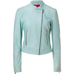 HUGO Light Pastel Green Leather Licca Jacket ($805) ❤ liked on Polyvore