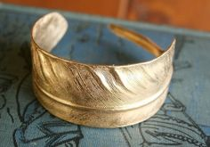 Brass Feather Cuff / Bracelet / Gift / by chainchainchained