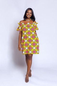 Ankara off-shoulder baby-doll dress African print dress African Dresses For Women, African Print Dresses, African Print Fashion, African Attire, African Wear, African Fashion Dresses, African Women, Fashion Prints, Ankara Fashion