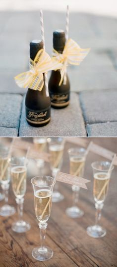 Mini Champagne's for your guests. you can obviously customize the look using trims either modern or vintage, or ribbon and paper straws to match the theme of your Wedding Reception Wedding Trends, Trendy Wedding, Wedding Designs, Wedding Ideas, Dream Wedding, Wedding Stuff, Wedding Inspiration, Mini Grilled Cheeses, Wedding Reception Favors