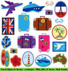 Travel Clipart Clip Art Vacation Beach Clipart Clip by PinkPueblo, $6.00