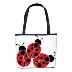 Trio of Ladybugs Bucket Bag