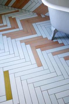 pisos - textures - Mix & Match Chevron Tile by Studio Toogood, UK Bad Inspiration, Bathroom Inspiration, Interior Inspiration, Interior Ideas, Chevron Tile, Herringbone Tile, Chevron Floor, Floor Design, House Design