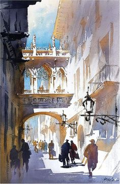 Shadows and Light - Barcelona by Thomas Schaller, Watercolor, x Art Painting, Landscape Paintings, Cityscape, Thomas Schaller, Watercolor Paintings, Painting, Watercolor Architecture, Watercolor Landscape, Architecture Painting