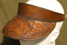 Leatherwork by Brian Kerrigan - Shop - Hand Crafted Leather Peak Cap/ Sun Visor - floral carved with dolphins