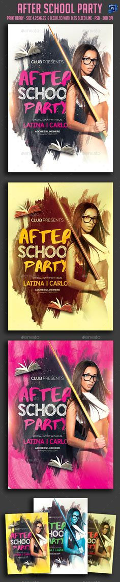 After School Party Flyer Template PSD. Download here: http://graphicriver.net/item/after-school-party-flyer-/16123553?ref=ksioks