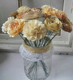 Jar with paper flowers, easy way to dress up jar threads