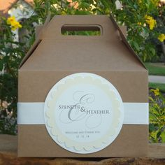 Custom Hotel Welcome Boxes, Personalized Kraft Gable Boxes Different label (square) l, same look.