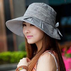 8b00bdb57b6 Gray bucket hat for women UV wide brim sun hats with bow design