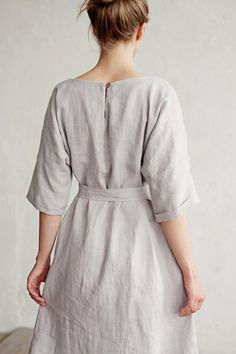 Linen dress with belt CORFU. Various colors available. Linen shift dress - All About Linen Dresses, Dresses With Sleeves, Stylish Dresses For Girls, Costume Shop, Natural Linen, What To Wear, Kimono, Summer Dresses, Trending Outfits