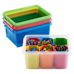 """Container Store's """"Smart Store"""" line might work well for crafts. The Container Store - The Original Storage and Organization Store® Organisation Hacks, Toy Organization, Classroom Organization, Organizing Ideas, Classroom Setup, Preschool Classroom, Small Storage, Craft Storage, Toy Storage"""
