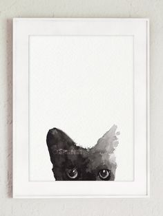 Black Cat Painting Custom Pet Portrait Black Kitty Watercolor Cat Art Print by ColorWatercolor on Etsy